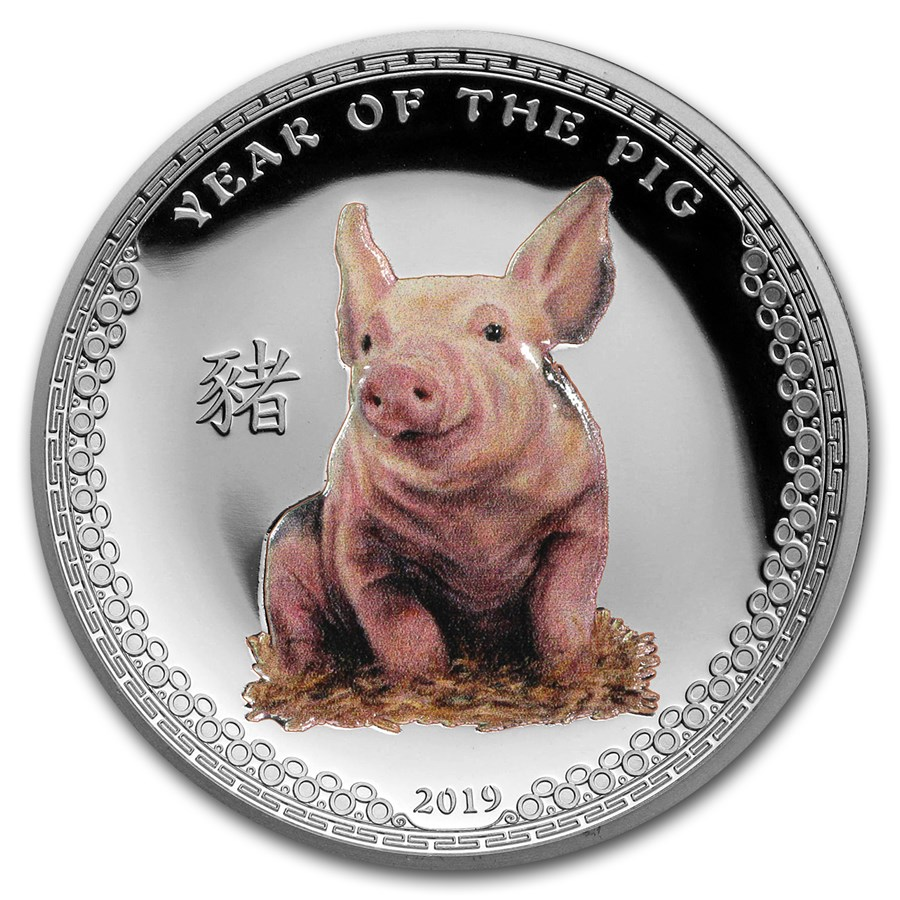 2019 Palau 1 oz Silver $5 Year of the Pig UHR (Colorized)