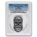 2019 Palau 1 oz Silver Antique Finish Biker Skull MS-70 PCGS