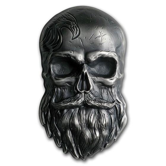 2019 Palau 1 oz Silver Antique Finish Biker Skull