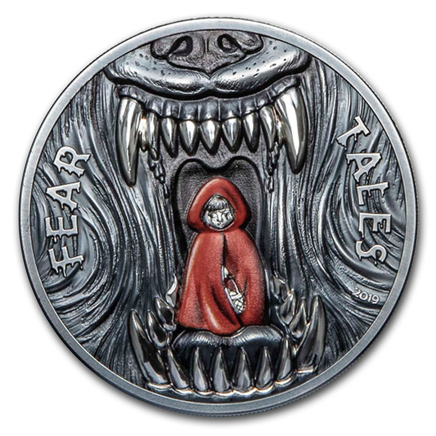 2019 Palau 2 oz Antique Silver Fear Tales: Little Red Riding Hood