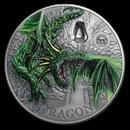 2019 Palau 2 oz Silver Mythical Creatures Collection Green Dragon