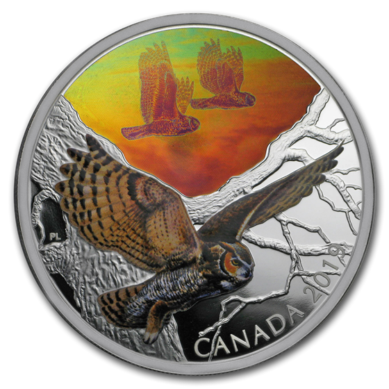 2019 RCM 2 oz Ag $30 Majestic Birds in Motion: Great Horned Owls