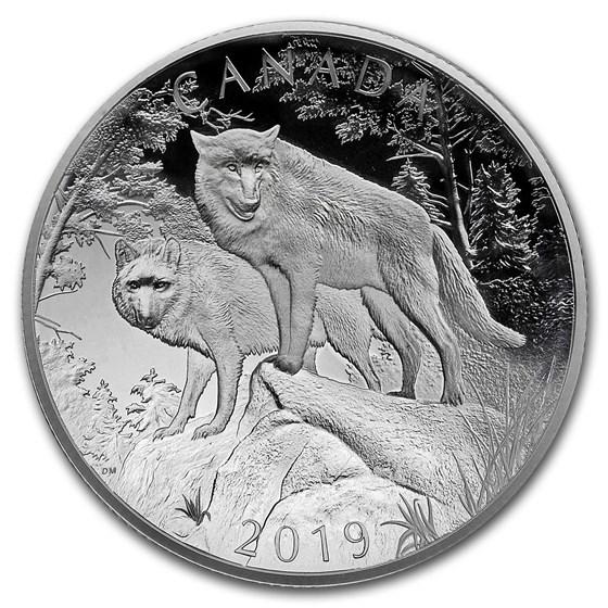 2019 RCM Silver $100 Double Concave Nature's Grandeur Wolves