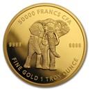 2019 Republic of Chad 1 oz Gold Mandala Elephant BU