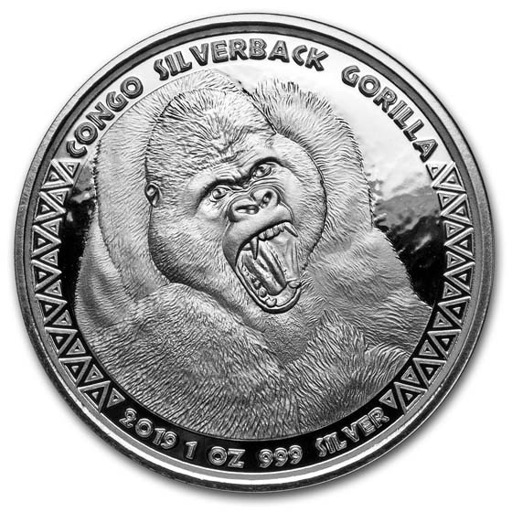 2019 Republic of Congo 1 oz Silver Silverback Gorilla (Prooflike)