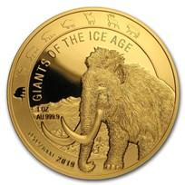 2019 Republic of Ghana 1 oz Gold Woolly Mammoth Proof