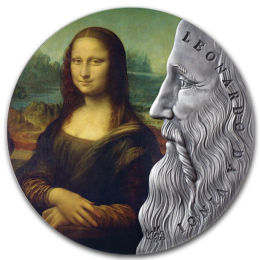 2019 Republic of Ghana 2 oz Silver Antique Leonardo Da Vinci
