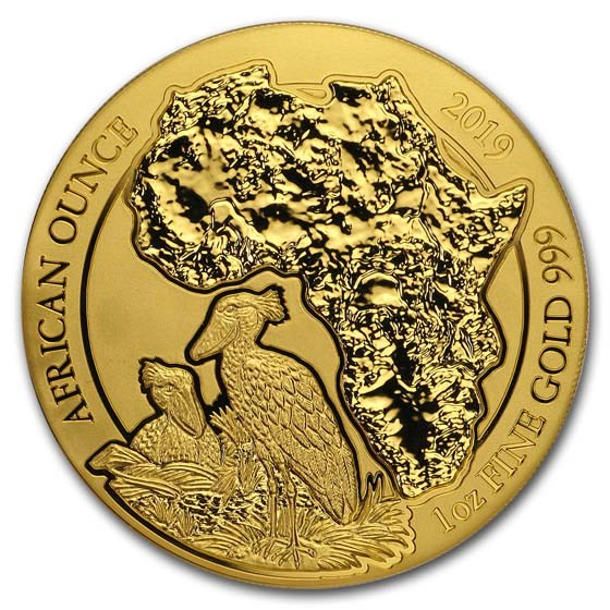 2019 Rwanda 1 oz Gold African Shoebill BU