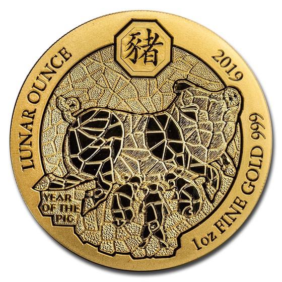 2019 Rwanda 1 oz Gold Lunar Year of the Pig BU (Coin Only)