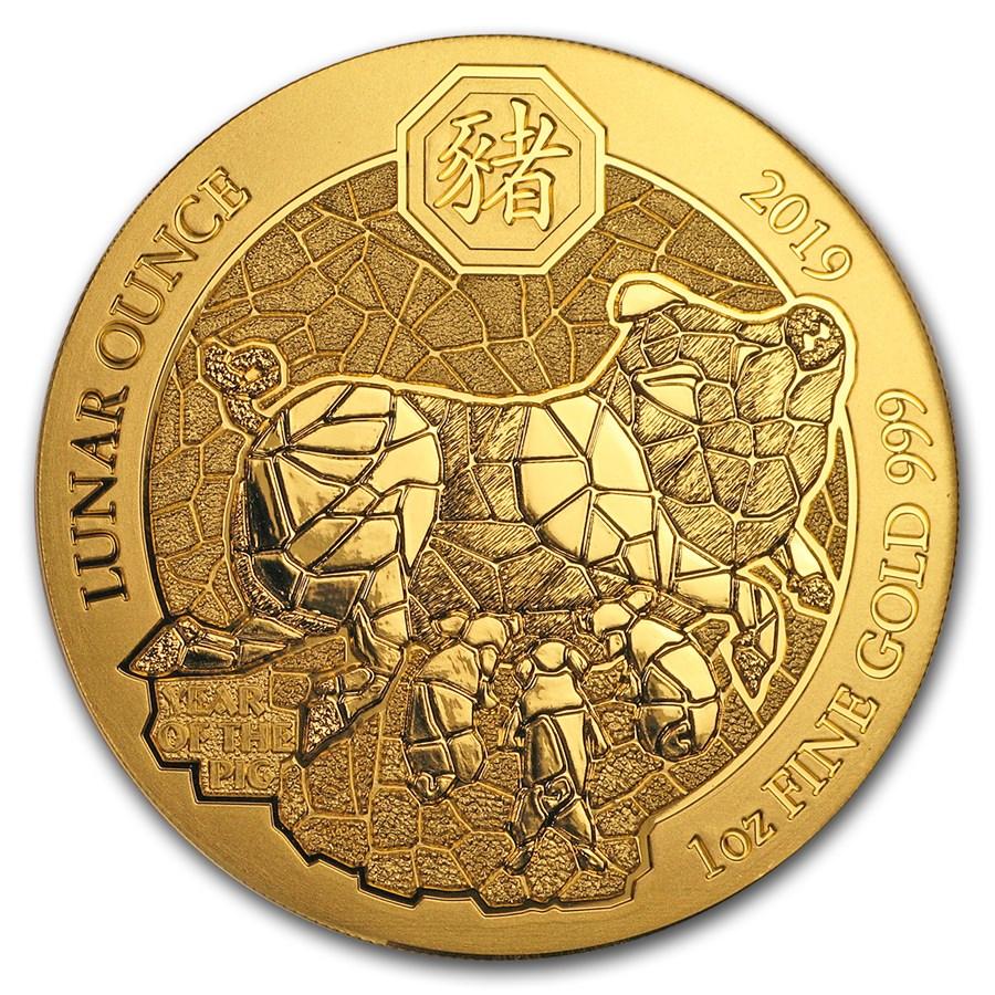 2019 Rwanda 1 oz Gold Lunar Year of the Pig BU