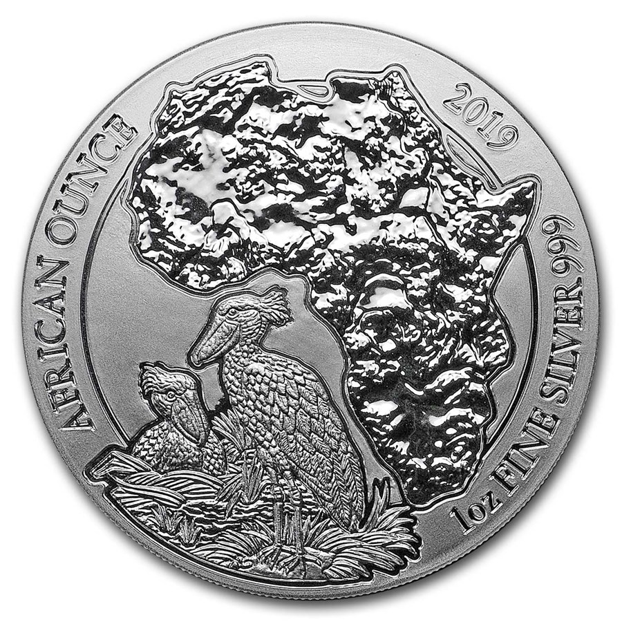 2019 Rwanda 1 oz Silver African Shoebill BU