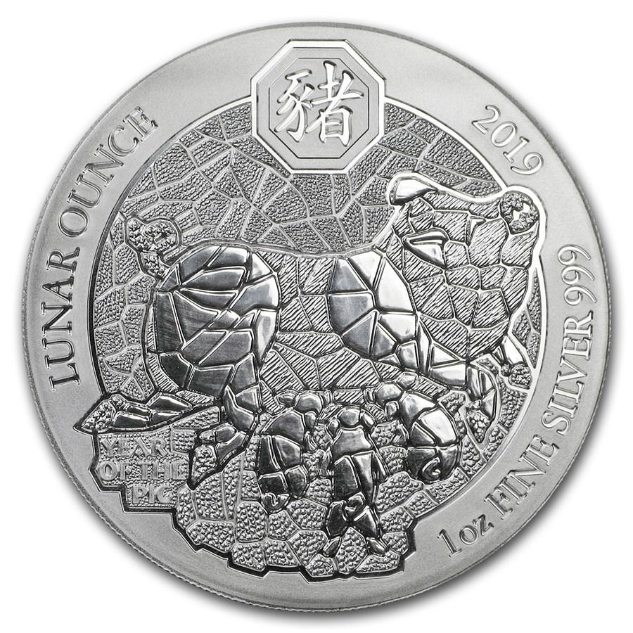 2019 Rwanda 1 oz Silver Lunar Year of the Pig BU (Not Sealed)