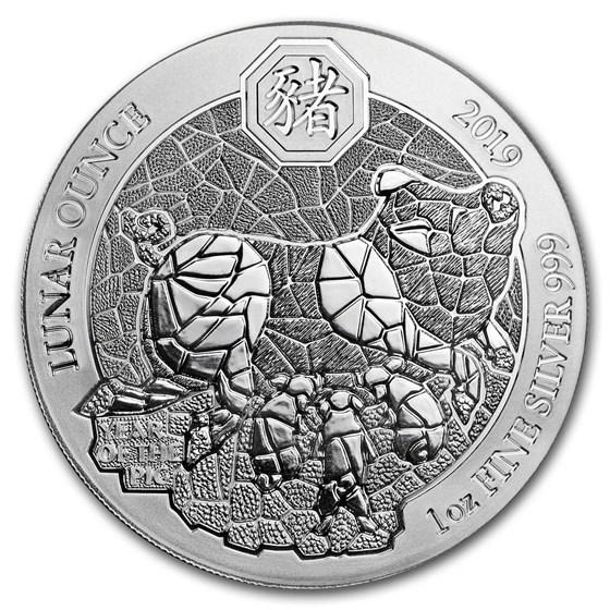 2019 Rwanda 1 oz Silver Lunar Year of the Pig BU