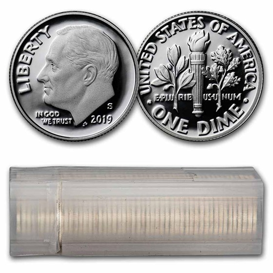2019-S Silver Roosevelt Dime 50-Coin Roll Proof