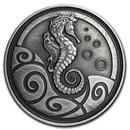 2019 Samoa 1 oz Silver Seahorse (Antique Finish)