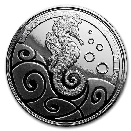 2019 Samoa 1 oz Silver Seahorse BU