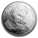 2019 Serbia 1 oz Silver 100 Dinar Nikola Tesla: Remote Control BU