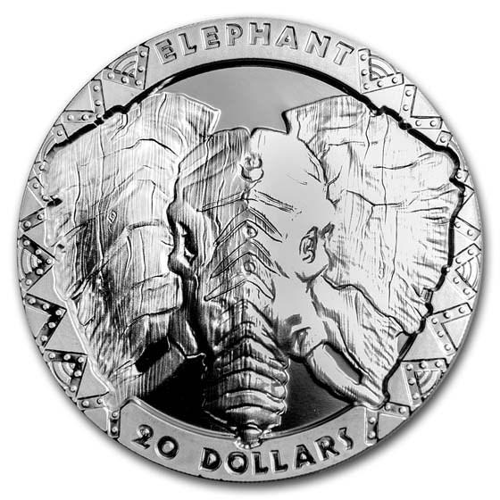2019 Sierra Leone 2 oz Ag £20 High Relief Big Five: Elephant Prf