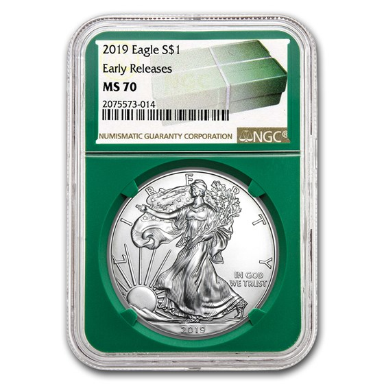 2019 Silver American Eagle MS-70 NGC (ER, Green Holder)