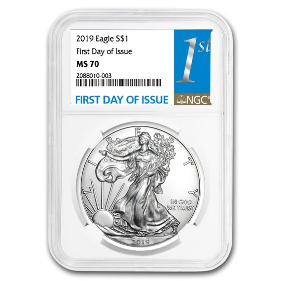 2019 Silver American Eagle MS-70 NGC (First Day of Issue)