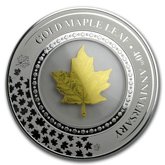 2019 Solomon Islands 2 oz Silver Embracing Gold: Maple Leaf