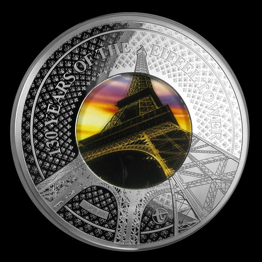 2019 Solomon Isld 5 oz Silver Translucent Treasures Eiffel Tower