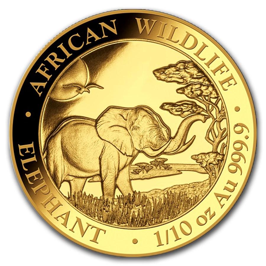 2019 Somalia 1/10 oz Gold African Elephant BU