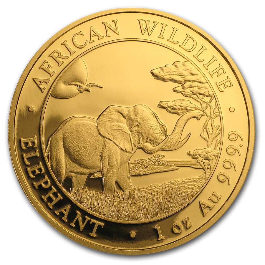 2019 Somalia 1 oz Gold African Elephant BU