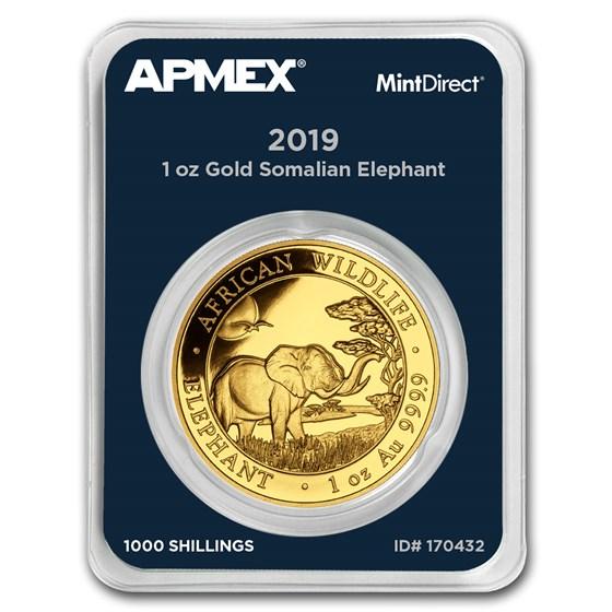 2019 Somalia 1 oz Gold African Elephant (MintDirect® Single)