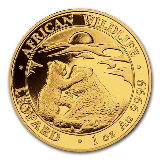 2019 Somalia 1 oz Gold African Wildlife Leopard BU