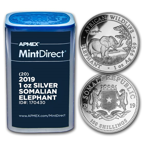 2019 Somalia 1 oz Silver Elephant (20-Coin MintDirect® Tube)