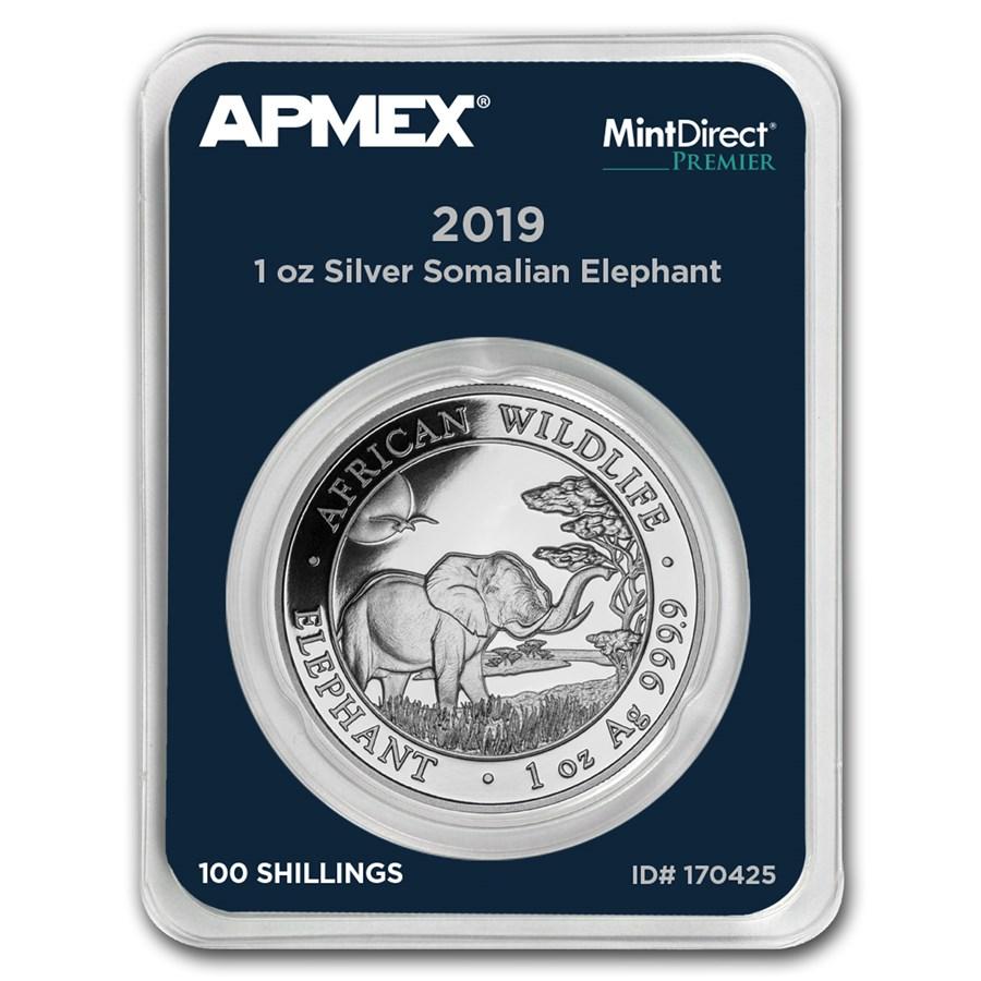 2019 Somalia 1 oz Silver Elephant (MintDirect® Premier Single)