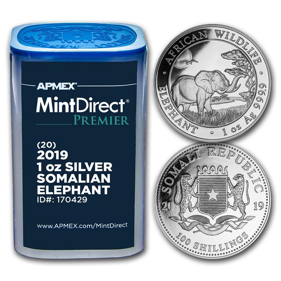 2019 Somalia 1 oz Silver Elephant (MintDirect® Premier Tube)