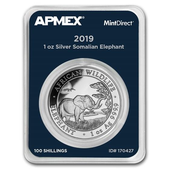 2019 Somalia 1 oz Silver Elephant (MintDirect® Single)