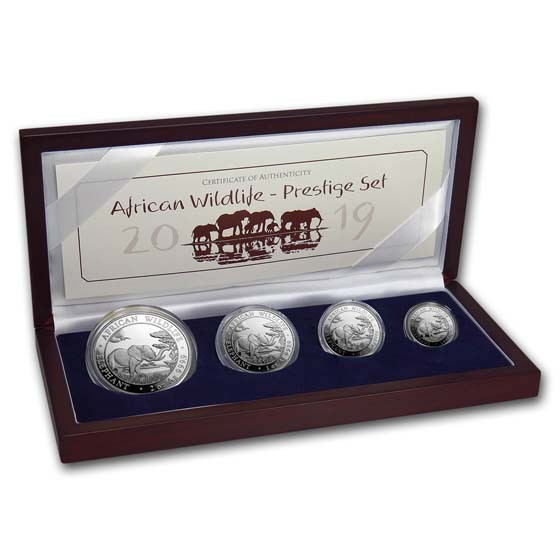 2019 Somalia 4-Coin Silver African Elephant Prestige Proof Set