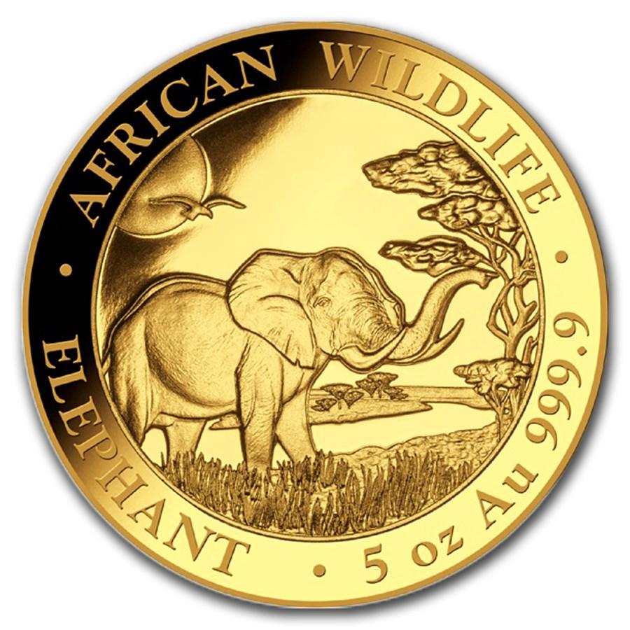 2019 Somalia 5 oz Proof Gold African Elephant