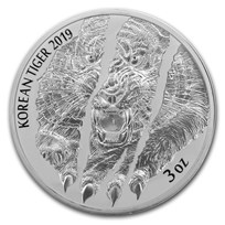 2019 South Korea 3 oz Silver Tiger BU