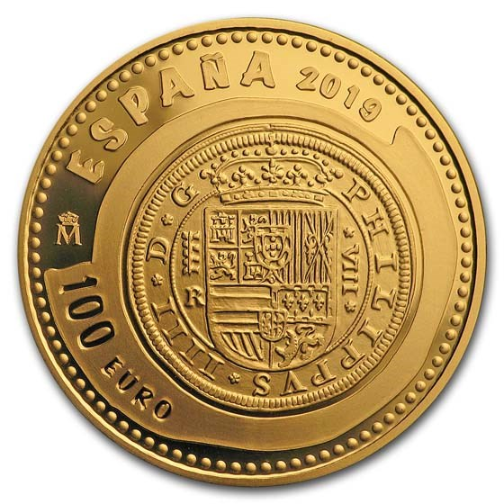 2019 Spain Proof Gold €100 Jewels of Numismatics 8 Escudos