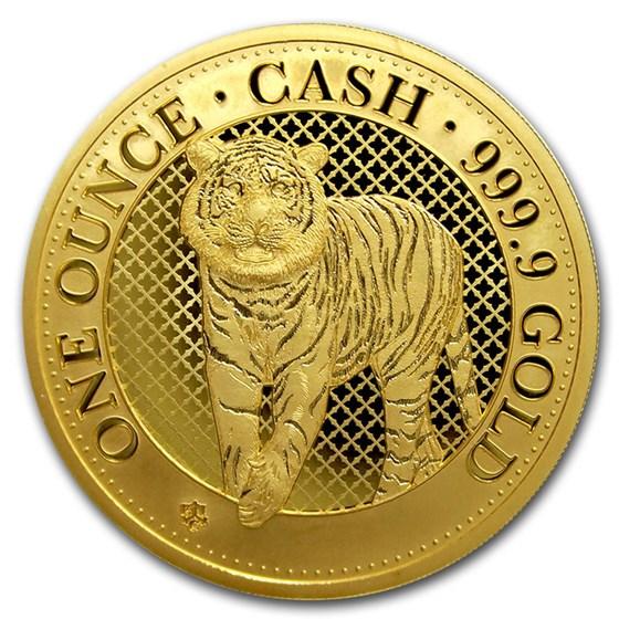 2019 St. Helena 1 oz Gold Cash India Wildlife: Tiger (Box & COA)