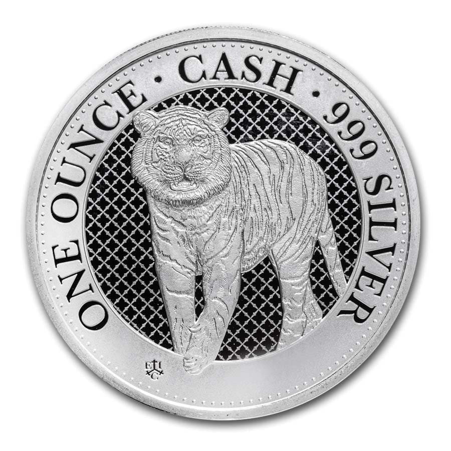 2019 St. Helena 1 oz Silver £1 Cash India Wildlife: The Tiger