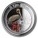 2019 St. Kitts and Nevis 1 oz Silver Pelican Proof (Colorized)