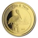 2019 St. Kitts & Nevis 1 oz Gold Pelican BU
