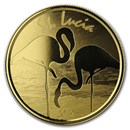2019 St. Lucia 1 oz Gold Pink Flamingo BU