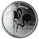 2019 St. Lucia 1 oz Silver Pink Flamingo BU
