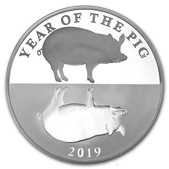 2019 Tokelau 1 oz Silver Proof Year of the Pig Mirror Pig