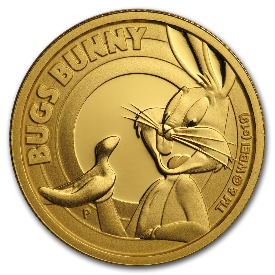2019 Tuvalu 1/4 oz Gold Looney Tunes Bugs Bunny Proof