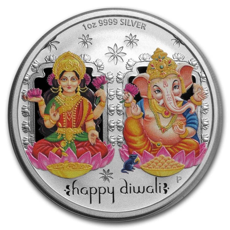 2019 Tuvalu 1 oz Silver $1 Diwali Medallion