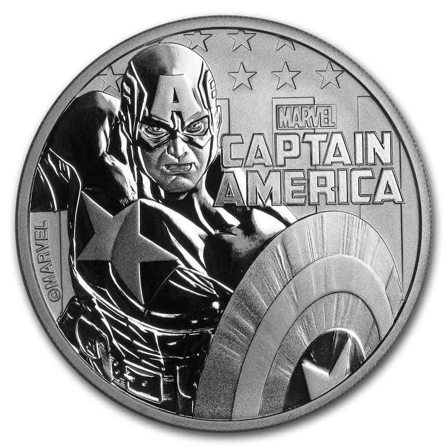 "2019 Tuvalu 1 oz Silver $1 Marvel Series ""Captain America"" BU"