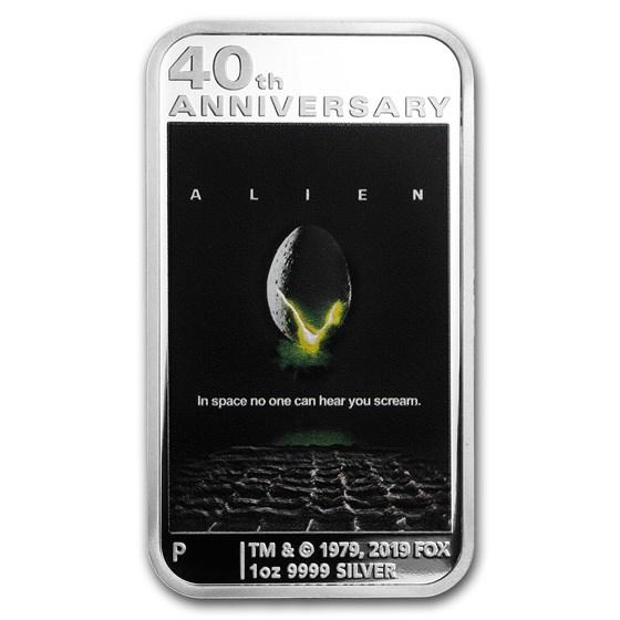 2019 Tuvalu 1 oz Silver 40th Anniv Alien Rectangle Coin