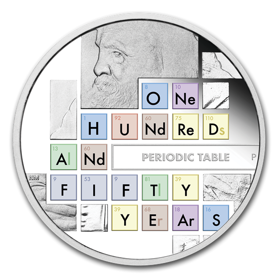 2019 Tuvalu 1 oz Silver Anniv of the Periodic Table Proof